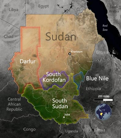 A Basic Map: South sudan and Regions in Sudan